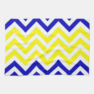 Blue and Yellow Chevrons Pattern Kitchen Towel