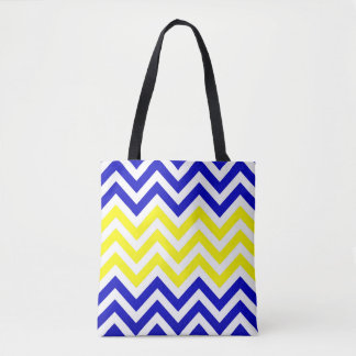 Blue and Yellow Chevrons Pattern Tote Bag