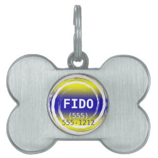 Blue and Yellow Circle Template Pet Tags