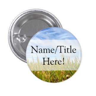 Blue and Yellow Cornfield Farm Country Wedding 1 Inch Round Button