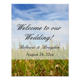 Blue and Yellow Cornfield Farm Country Wedding Poster