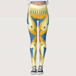 Blue and yellow Cross pattern Leggings
