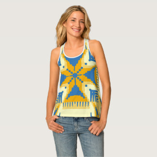 Blue and yellow Cross pattern Tank Top