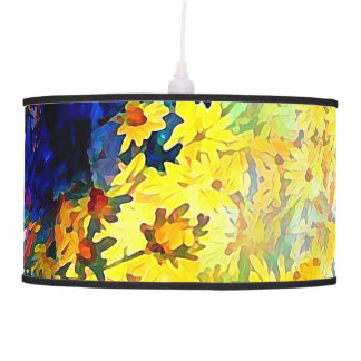 Blue and Yellow Daisies in Flower Vases Pendant Lamp