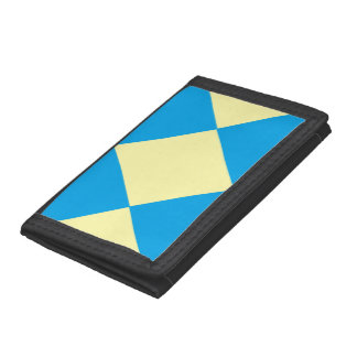 Blue and Yellow Diamond Pattern Tri-fold Wallet