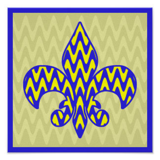 Blue and Yellow Fleur de lis Poster