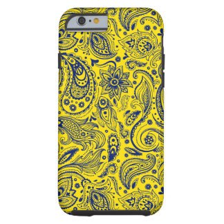 Blue And Yellow Floral Paisley Pattern Tough iPhone 6 Case