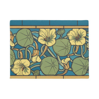 Blue and Yellow Floral Pattern Doormat