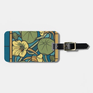 Blue and Yellow Floral Pattern Luggage Tag