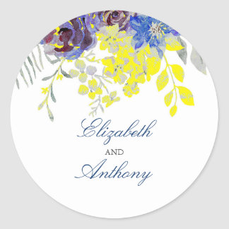 Blue and Yellow Floral Watercolor Wedding Classic Round Sticker