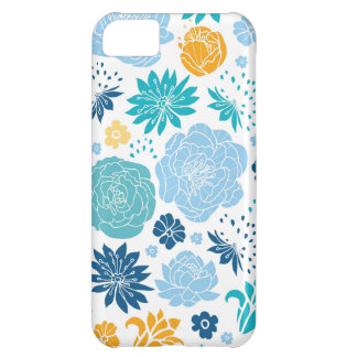 Blue and yellow flower silhouettes pattern iPhone 5C cover