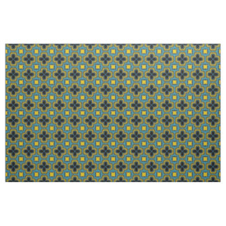 Blue and Yellow Geometric Pattern Floral Material Fabric