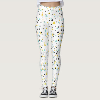 Blue and Yellow Geometric Triangles Pattern Leggings
