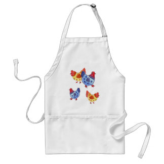 blue and yellow hens several standard apron