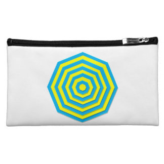 Blue and Yellow Hexagon Cosmetic Bag