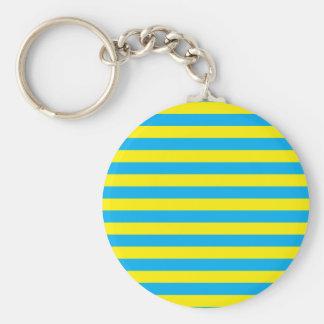 Blue and Yellow Horizontal Stripes Basic Round Button Keychain