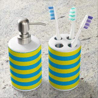 Blue and Yellow Horizontal Stripes Bathroom Set