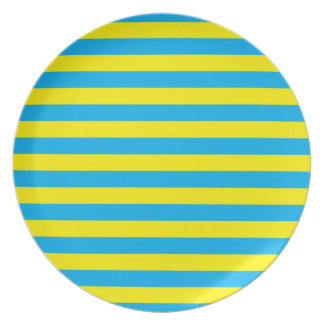 Blue and Yellow Horizontal Stripes Dinner Plates