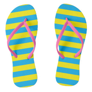 Blue and Yellow Horizontal Stripes Flip Flops