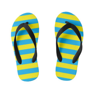 Blue and Yellow Horizontal Stripes Kid's Flip Flops