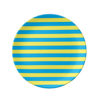 Blue and Yellow Horizontal Stripes Porcelain Plate