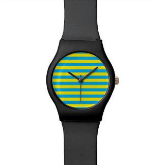 Blue and Yellow Horizontal Stripes Wrist Watch