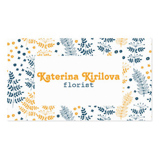 Blue and yellow leaves business card