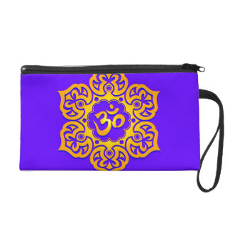 Blue and Yellow Lotus Flower Om Wristlet Clutch