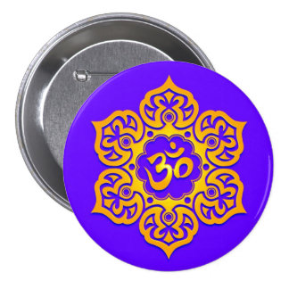 Blue and Yellow Lotus Flower Om Pinback Buttons