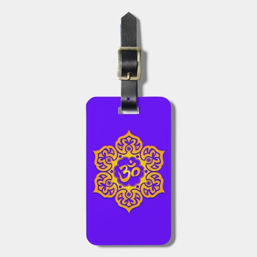 Blue and Yellow Lotus Flower Om Travel Bag Tags