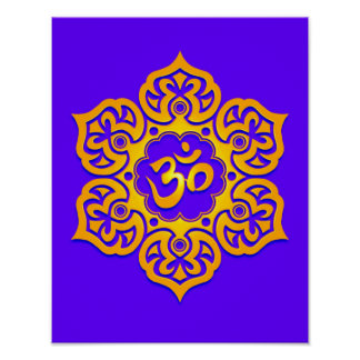 Blue and Yellow Lotus Flower Om Print