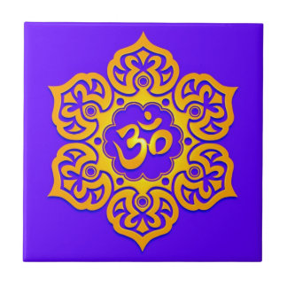 Blue and Yellow Lotus Flower Om Tiles