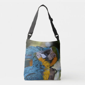 Blue and yellow macaws crossbody bag