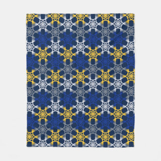 Blue and Yellow Mod Large Print Fleece Blanket