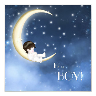 "Blue and Yellow Moon Baby Boy Shower 5.25"" Square Invitation Card"