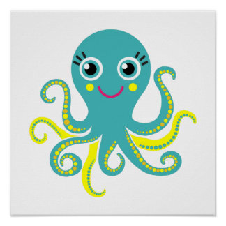 Blue and Yellow Octopus Poster