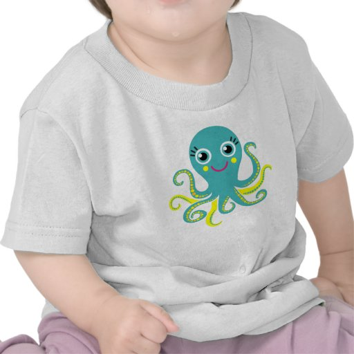 Blue and Yellow Octopus T Shirt