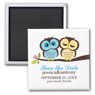 Blue and Yellow Owls Wedding 2 Inch Square Magnet
