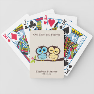 Blue and Yellow Owls Wedding Bicycle Playing Cards