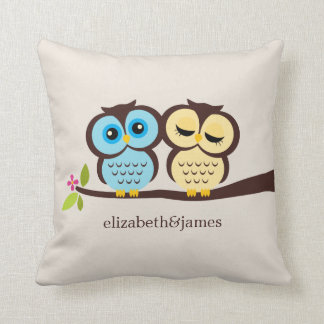 Blue and Yellow Owls Wedding Throw Pillows