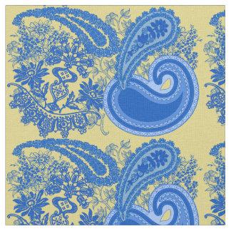 Blue and Yellow Paisley Pattern Fabric