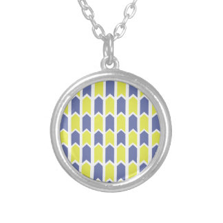Blue and Yellow Panel Fence Silver Plated Necklace