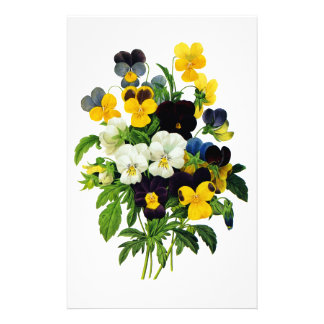 Blue and Yellow Pansies by Pierre Joseph Redoute Customized Stationery