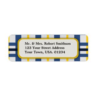 Blue and Yellow Plaid Return Address Labels