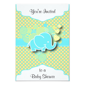 """Blue and Yellow Plaid with Baby Elephant 3.5"""" X 5"""" Invitation Card"""