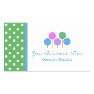 Blue and Yellow Polka Dot  Candy Business Card