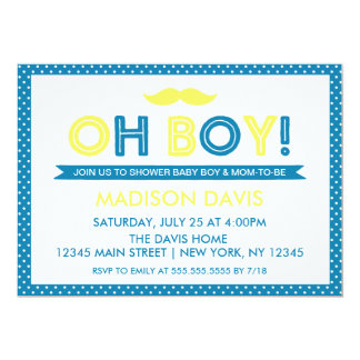 Blue and Yellow Polka Dot Oh Boy Baby Shower Card