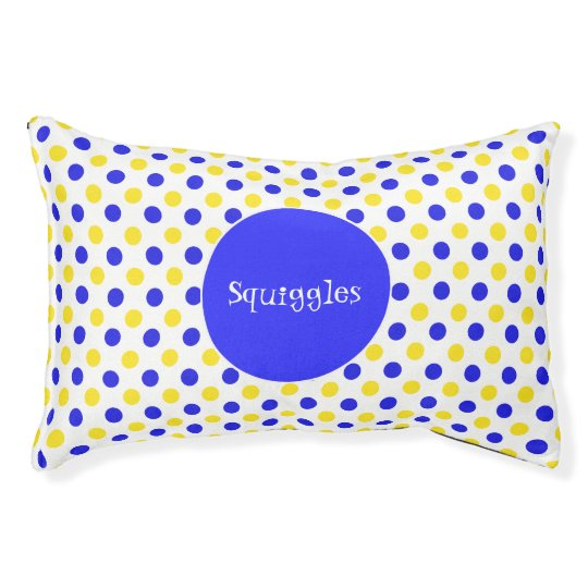 Blue and Yellow Polka Dots Custom Pet Bed