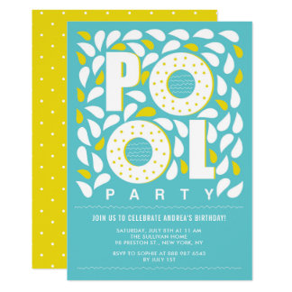 Blue and Yellow Pool Party Splash Birthday Card