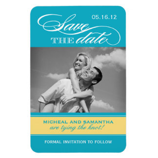 Blue and Yellow Save the Date Magnets